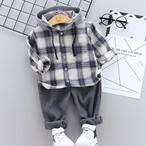 【子供服】合わせやすいチェック柄ベビーコーディネート2点セット22709078