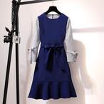 【dress】デートワンピースべベルト付き配色フィッシュテール長袖