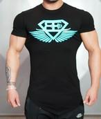 BODY ENGINEERS ボディエンジニア Tシャツ 2.0 – ブラック&ブルー【Black & Sky Blue】 メーカー直輸入品!