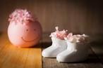 【花のプレゼント・出産祝い】プリザーブドフラワー(ベビーシューズ)2個セット ピンク