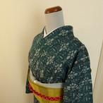 正絹紬 萌葱色に織り模様 袷の着物