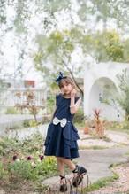【NEW】PETAL DRESS NAVY DOTS
