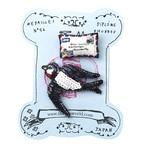 刺繍ミニブローチツバメとエアメール