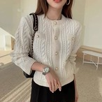 knit pearl button tops 2color