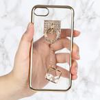 【送料無料】クリアソフトケース&キラキラゴールドアクセサリー iPhoneケース