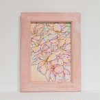 Wood print Art 【Plumeria ピンクフレーム付き】