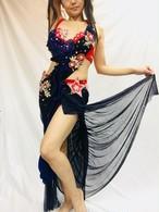 エジプト製 ベリーダンス衣装 赤&紺