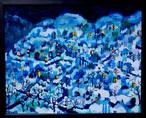 油彩画*雪のいえ/油彩*紙/額付き24x30cm