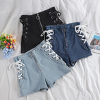 lace up short denim 3color