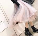 レイヤード デザイン チュール スカート(b_12)