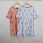 saruche イカット手織りコットン Tシャツワンピース