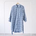 blue flower shirt one piece〈Sky blue・シャツワンピース〉