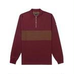 Tartan Stripe Zip Polo(Burgundy)