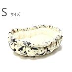 ふーじこちゃんママ手作り ぽんぽんベッド (コットン黒猫・ボアホワイト) Sサイズ