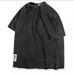 送料込みメンズビッグサイズムラ染め黒Tシャツ