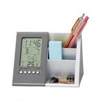 スタイリッシュデスクスタンド/ペンスタンド 【時計付き】 アラーム・カレンダー・温度計・タイマー