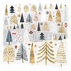 入荷しました|完売再入荷【Paperproducts Design】バラ売り2枚 ランチサイズ ペーパーナプキン MOUNTAIN FOREST シルバー×ゴールド