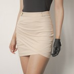 Shirring Wrap Skirt (Beige)