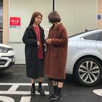 ロングコート ブラック/ブラウン ジャケット アウター ミモレ丈 シンプル ナチュラル