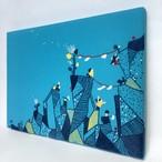 手刺繍ファブリックパネル「風と岩を楽しむ日」BL インテリア 刺繍絵
