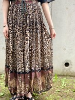 Vintage Indian Cotton Leopard Skirt