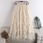 【スカート】フラワー チュールスカート・オフホワイト