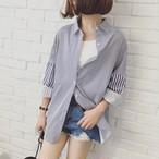 【トップス】ドルマンスリーブストライプ柄シングルブレストシャツ
