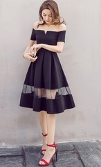 シースルースカート☆二次会☆可愛い☆ブラック☆パーティ☆ドレス☆ワンピース☆肩出し