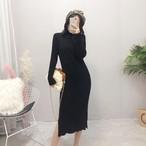 【dress】秋冬ニットワンピース定番シンプル着回せるレディースワンピース