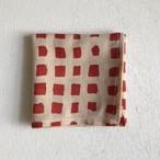 インドの布《木版ハンカチNo.18》 インド綿ボイル 赤 太チェック