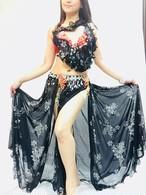 ベリーダンス衣装 コスチューム  ブラック&レッド