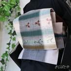 長井紬 絣九寸なごや帯 花