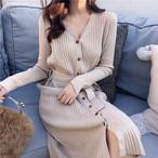 【dress】ニットワンピースレトロリボン付きボタン着やせスリットワンピース