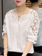 【tops】Chic design simple solid color lace shirt