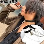 【リード付き】シンプルな南京錠のリード付きチョーカー&鍵ネックレス