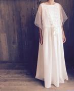 大人のシンプル花嫁レースとチュールの二次会ウェディングドレス(サイズフリーLサイズ)11号〜13号の方