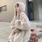 ミンキーファーフードジップアップ もこもこ フードジップアップ  韓国ファッション