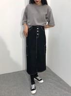 デニムステッチロングスカート ロングスカート デニムスカート ステッチ 韓国ファッション