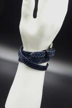 Item No.0298: Long Smooth Bracelet/Diamond Python《Blue》