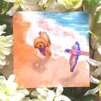 絵画 インテリア アートパネル 雑貨 壁掛け 置物 おしゃれ 犬 動物 鳥 砂浜 海 ロココロ 画家 : Hiro K 作品 : untitled