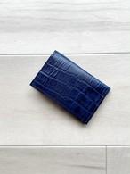 濃紺クロコ型押し カードケース 本革 ネイビー 名刺入れ パスケース