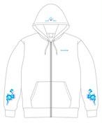 【受注生産】ジップパーカー(白/バックプリントブルー) /Zip Hoodie