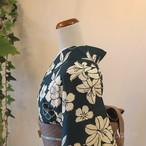 綿麻 青褐に花の浴衣