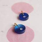 ヴィンテージ プラスティックサークルにラインストーンひとつ (ブルー・2コ)