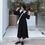 【送料無料】襟が可愛いロングワンピース♪ レース 刺繍 モノトーン