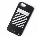 アイフォン7 アイフォン8 スマホケース  OFF-WHITE(オフホワイト) iPhone7/8ケース DIAG iPhone 8 COVER W STRA ストライプ カバー ブラック アイフォンケース ベルト付き[送料無料]r014732