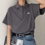 【送料無料】おじカワ♡ スポーティー メンズライク 五分袖 オーバーサイズ ポロシャツ トップス