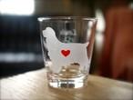 イングリッシュコッカー(柄なし)彫刻グラス(ハート&クローバー)