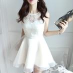 【dress】袖なしデートワンピース2色オーガンジーAラインドレス