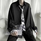 メンズ シャツ 韓国 長袖 シャツ ネクタイ 人気 肩落ち 送料無料